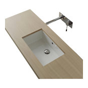 Rectangular White Ceramic Undermount Sink, No Hole