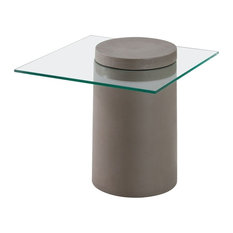 Zuo Modern Contemporary   Modern Contemporary Side Table, Cement, Glass   Side  Tables And