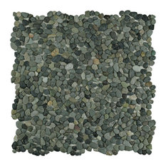 "12.25""x12.25"" Pebble Stone Mosaic Floor and Wall Tile, Olive"