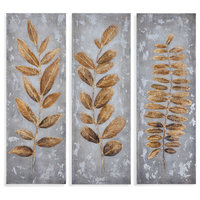"""Metallic Leaves"" on Canvas, Set of 3"