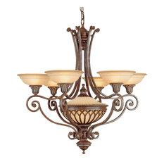 7-Light Chandelier, British Bronze