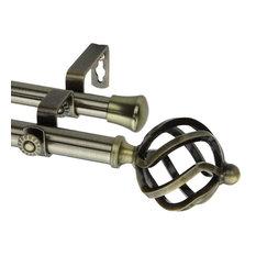 "Twist Double Curtain Rod, Antique Brass, 28""-48"""
