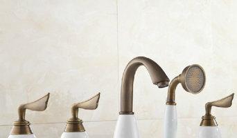Three Handles Antique Brass Bathtub Faucet With Hand shower