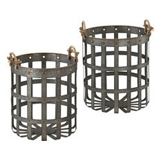 Caxton Baskets, Aged Iron With Gold Highlights, Set of 2