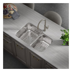 """32""""x21""""x9"""" Undermount Low Divider Double Bowl Stainless Sink With Strainer"""