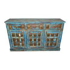 Mogul Interior - Consigned Antique Sideboard Buddha Carving Blue Distressed Furniture - Buffets And Sideboards
