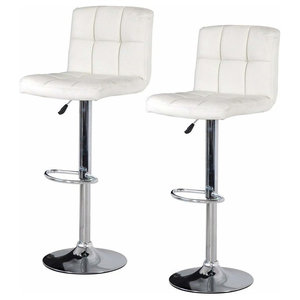 Modern 2-Pack Swivel Bar Stools Upholstered, Faux Leather, White