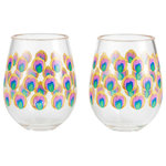"""Enesco - """"Proud as a Peacock"""" Set of 2 Acrylic Stemless Wine Glass by Lolita - Strut your stuff with this this feather inspired stemless acrylic wine glass. The beautiful peacock plumage has been known to attract a mate or two."""