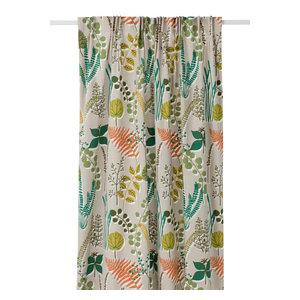 Botanik Long Floral Curtain, Green