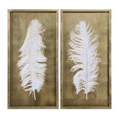 White Feathers Gold Shadow Box, 2-Piece Set