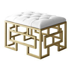 Designer Modern Home Alice Modern Tuffted Ottoman With Gold Frame And White Fabric 24
