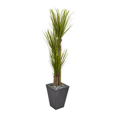 5.5 Ft. Triple Stalk Yucca Artificial Plant in Slate Planter