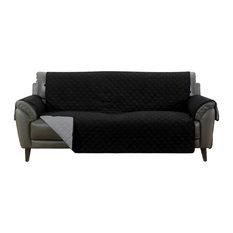 Barrett Microfiber Reversible Couch Protector, Black/Grey