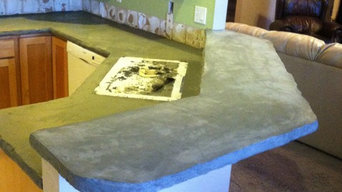Concrete countertop overlay. Applied over old Formica