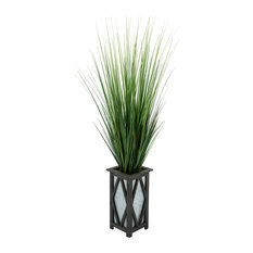Artificial 50-inch Grass in Black Diamond Wood/Metal Planter