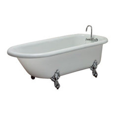 Monarch White Clawfoot Tub With Nickel Feet Wall Drilled Faucets by Restoria Bathtub Company