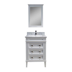 """Bordeaux 24"""" Vanity With Mirror and White Carrara Marble Countertop, Matte White"""