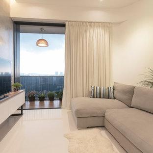 На фото: гостиная комната в стиле шебби-шик с