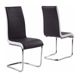 Modern Set of 2 Chairs Upholstered, Faux Leather With Chrome Plated Base, Black