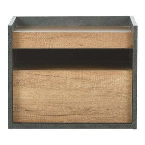 Modern Bedside Table, Oak Finished MDF With 1-Drawer
