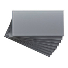 "3""x6"" Aspect Peel and Stick Glass Backsplash Tile, Set of 8, Steel"
