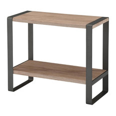 Inspire At Home   Console Table With Washed Oak Top And Gray Metal Frame    Console