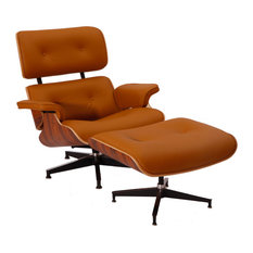 Aniline Leather Lounge Chair and Ottoman, Seat: Light Brown, Base: Palisander