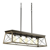 Progress Lighting Briarwood Five-Light Linear Chandelier, Antique Bronze