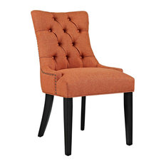 Button-Tufted Fabric Dining Chair, Orange