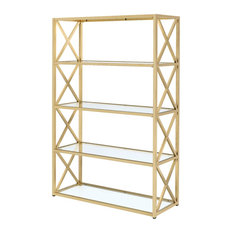 Milavera Etagere Bookcase, Clear Glass and Gold