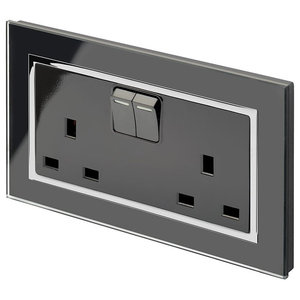RetroTouch Double Switched Plug Socket 13A, Black Glass With Trim