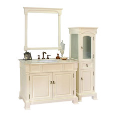 Bellaterra Home   42 Inch Single Sink Vanity Wood Cream White   Bathroom  Vanities