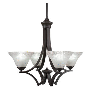 """Zilo 4Lt Chand Dark Granite Finish W/7"""" Frosted Crystal Glass (564-DG-751)"""