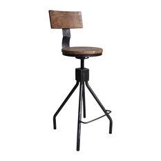 Wilson Industrial Adjustable Metal Barstool, Silver Brushed Gray