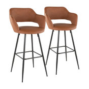 Lumisource Margarite Barstool, Black Metal and Brown PU Leather, Set of 2