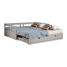 Melody Twin to King Extendable Trundle Daybed with Storage Drawers, Gray