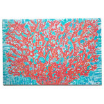 "My Island - Coral On Aqua Background, Wrapped Canvas, 16 x 24"" - This lovely bright coral  painting on canvas will brighten any room with its shades of turquoise as background.  It is perfect for the coastal home or cottage or just where a POP of color and whimsy is needed.  It is gallery wrapped, lightweight, and ready to hang! Size is 16 x 24"" and was created by My Island artist, Gerri Hyman."