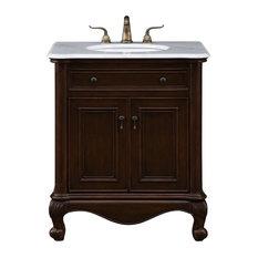 """Luxe 30"""" Single Bathroom Vanity Set, Teak"""