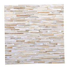 "16.54""x16.54"" Valley Wood Mosaic Vintage Teak Wall Tiles, Set of 6"