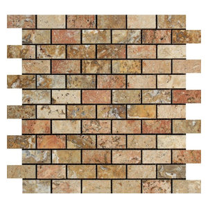 Scabos Travertine Brick Mosaic, 1 X 2 Polished