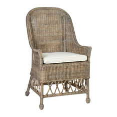 East At Main's Rattan Square Accent Chair, Marietta Brown