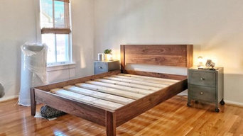 Mid-Century Modern Solid Walnut Queen Size Platform Bed