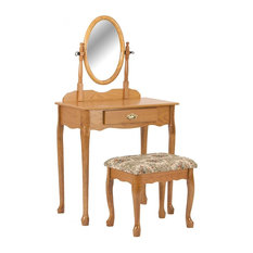 Traditional Vanity Set, Rubber Wood, Mirror, Drawer and Cushioned Stool, Oak