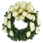"Creative Displays - 26"" Holiday Wreath - 26"" Wreath with cream bow."