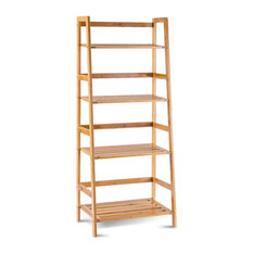 Costway Multifunctional 4 Shelf Bamboo Bookcase Ladder Plant Stand Rack Storage