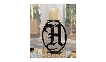 Old English Personalized Letter Pillar Candle Holder