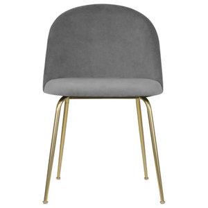 Velvet Brass Modern Dining Side Chair, Pebble