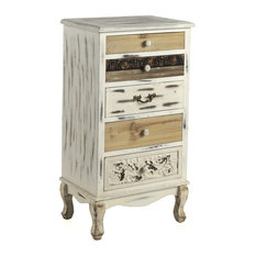 Whitewashed Wooden Chest of Drawers