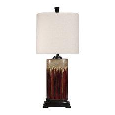Tandoori Spice & Arabic Ceramic Table Lamp, Dark Red + Tan Glaze, White Shade