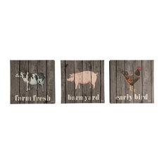 Canvas Art, Farm Animals, Set of 3, 12x12